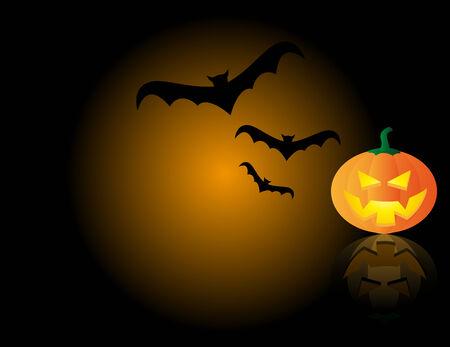 Abstract vector illustration of a halloween pumpkin and bats Stock Vector - 3735931