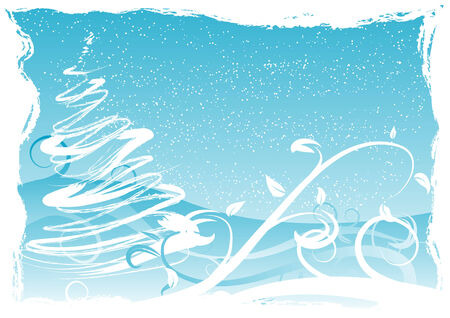 noelle: Abstract vector illustration of a grungy christmas background with snow and space for copy