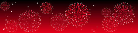 Abstract vector illustration of fireworks in the sky in red Illustration