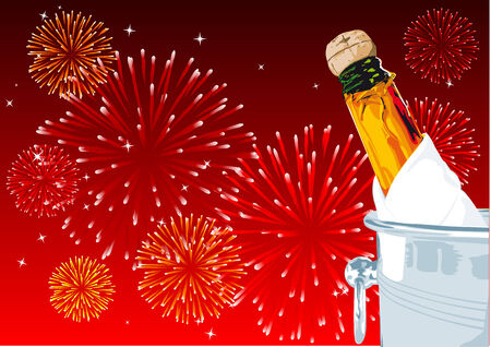 Abstract vector illustration of a champagne bottle with fireworks in the background