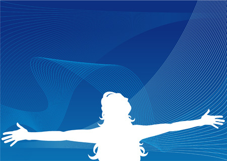 inhale: Abstract vector silhouette illustration of a woman with headphones and arms out