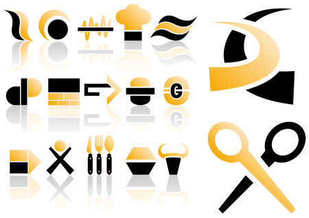 logo vector: Abstract vector illustration of several design and logo elements Illustration