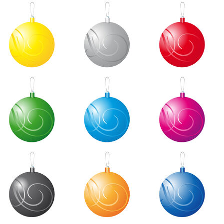 noelle: Abstract vector illustration of a collection of decorative christmas balls Illustration