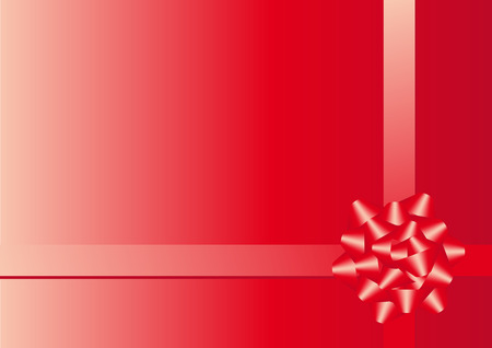 Abstract vector illustration of a red christmas bow over red with space for copy Vector