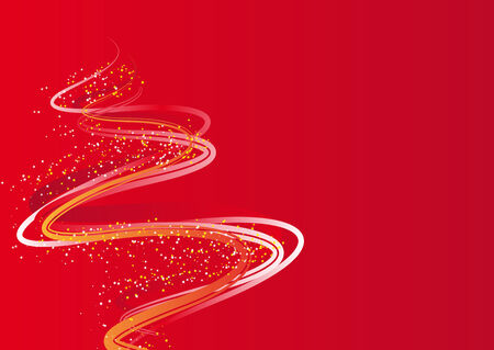 noelle: Abstract vector illustration of a christmas tree over red with space for copy