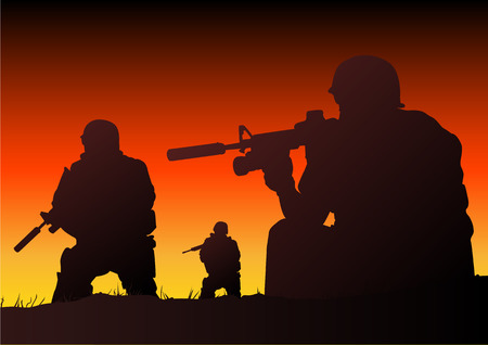 war on terror: Abstract silhouette vector illustration of soldiers at sundown