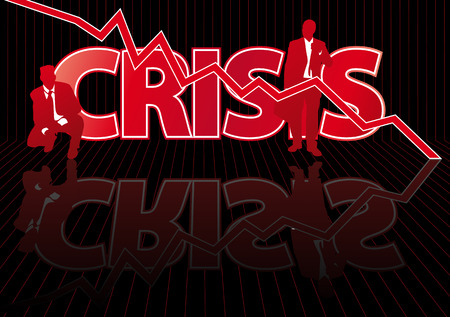 crashing: Abstract vector illustration of frustrated businessmen in front of a crisis sign