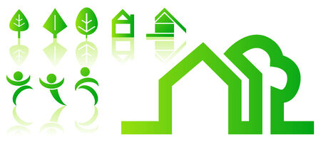 Abstract vector illustrations of green homes, people and nature