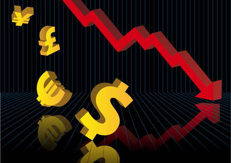 crashing: Abstract vector illustration of financial graphs and currency symbols crashing to the floor