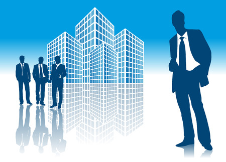 Abstract vector illustration of businessmen in front of an office building