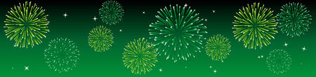 Abstract vector illustration of fireworks in the sky in green