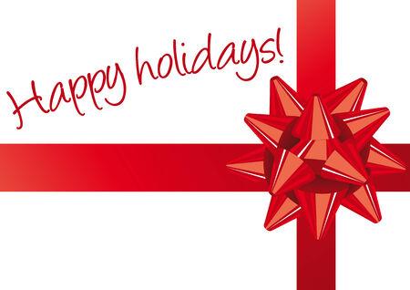 Resumen ilustración vectorial de un arco rojo de Navidad en blanco con el texto felices fiestas Foto de archivo - 3950612