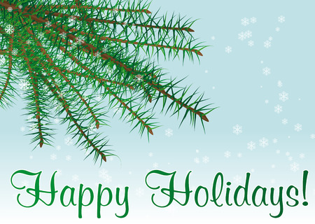 Abstract vector illustration of a christmas branch with snow and text happy holidays