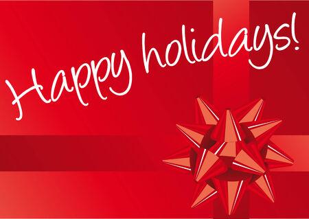 f�tes: Abstract vector illustration d'un arc rouge de No�l rouge avec du texte en blanc de bonnes vacances