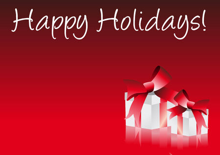 Abstract vector illustration of a christmas gift on a red background with text happy holidays