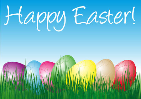 Abstract vector illustration of easter eggs in different colors in the grass with text happy easter Vector