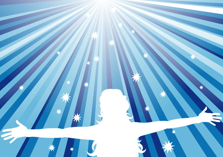 graphical: Abstract vector illustration of a woman with her arms out looking at the sky Illustration