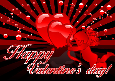 Abstract vector illustration of cupid and hearts with the text Happy Valentines Day Vector