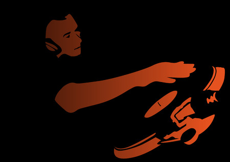 discjockey: Abstract vector illustration of a deejay in action with space for copy