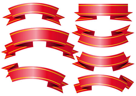 Abstract vector illustration of several red and golden banners