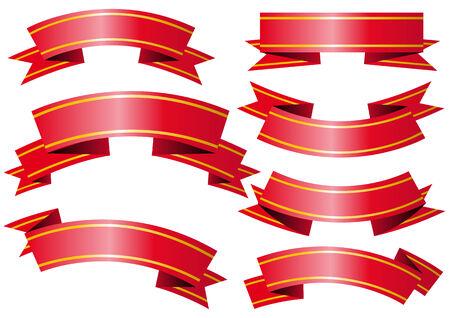 Resumen ilustración vectorial de varias banderas de color rojo y dorado Foto de archivo - 4214825