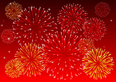 Abstract vector illustration of a red sky with fireworks