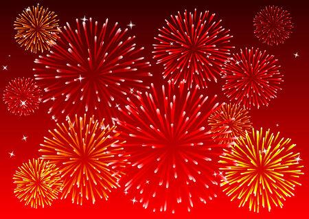 ciel rouge: R�sum� illustration vectorielle d'un ciel rouge avec des feux d'artifice