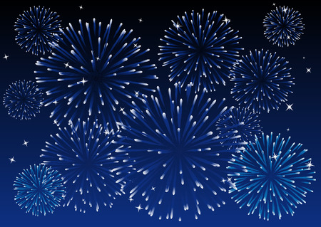 Abstract vector illustration of a blue sky with fireworks Illustration