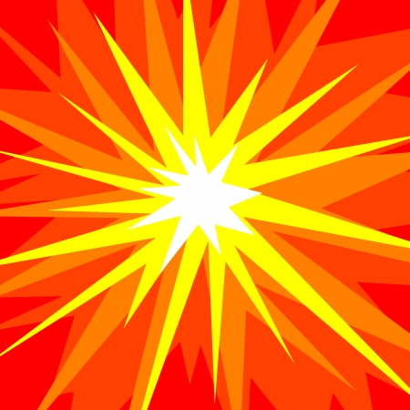 Abstract vector illustration of a cartoonstyle explosion in red, orange, yellow and white Ilustração