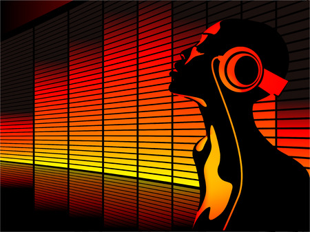 Abstract vector of woman listening to music with equalizer in the background Illustration