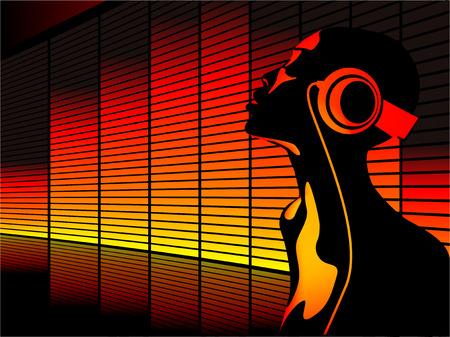 Resumen de vectores de la mujer de escuchar música con ecualizador en el fondo