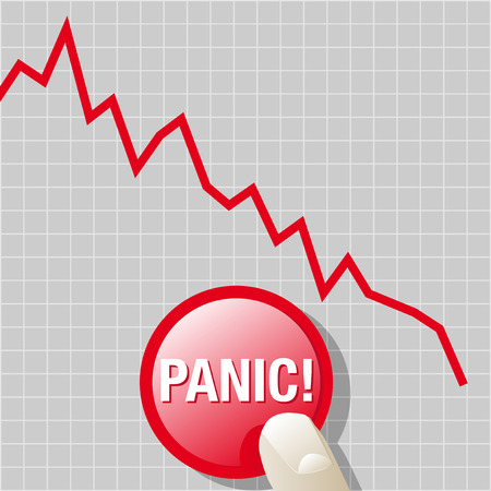 downward: Abstract vector illustration of a downward graph with a finger on a panic button