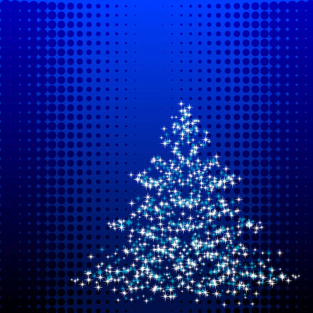 noelle: Abstract vector illustration of a christmas tree over a halftone background