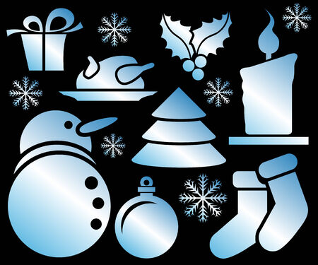 Abstract vector illustrations of christmas icons over black