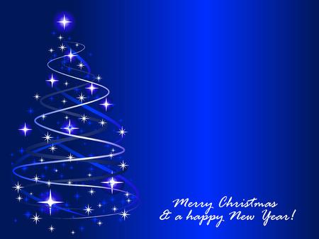 feliz: Illustrazione vettoriale astratta di un albero di Natale con i Twinkles Vettoriali