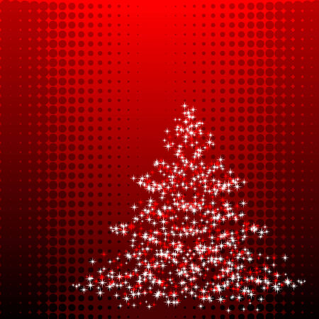 Abstract vector illustration of a christmas tree over a halftone background
