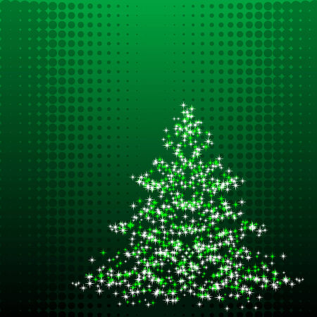 noelle: Abstract illustration of a christmas tree over a halftone background