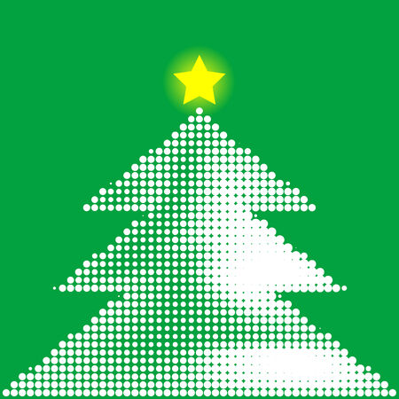 newyears: Abstract halftone illustration of a christmas tree with star