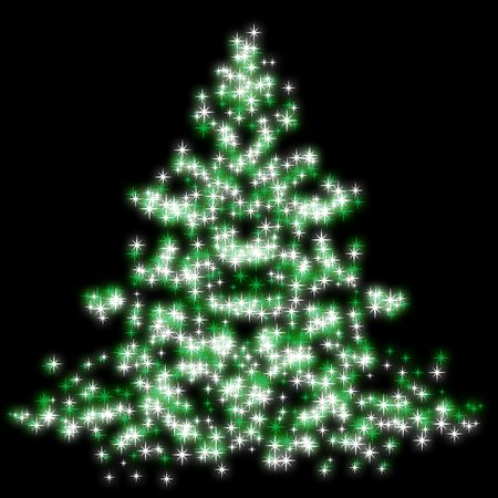 Abstract illustration of a christmas tree over a black background