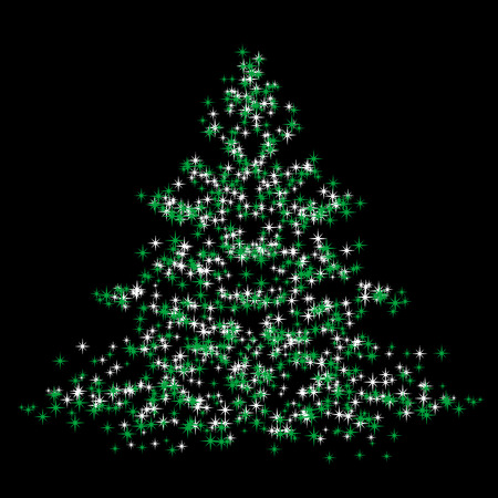 noelle: Abstract illustration of a christmas tree over a black background