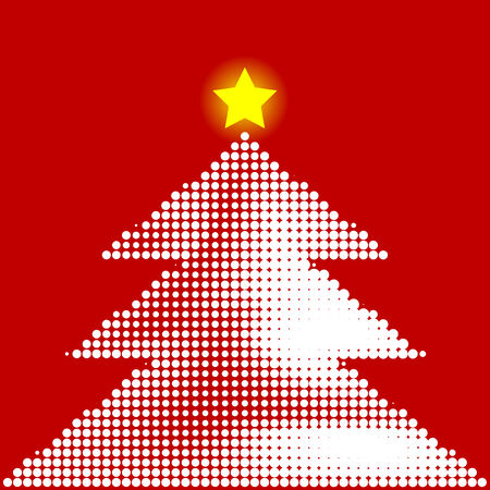 Abstract halftone illustration of a christmas tree with star