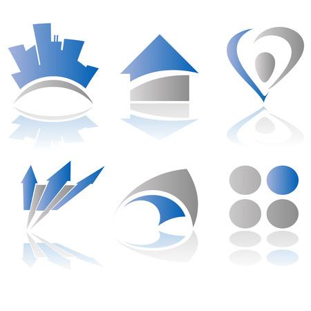 flecha azul: Resumen del logotipo de la ilustraci�n y el dise�o de elementos de Vectores
