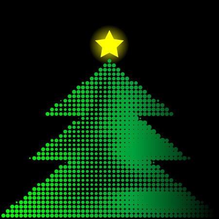 christmastree: Abstract halftone vector illustration of a christmas tree with star  Illustration