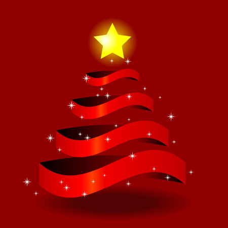 Abstract vector illustration of a christmas tree with a star on top