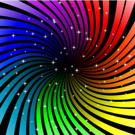 rainbow color star: Abstract vector illustration of twisted rainbow rays