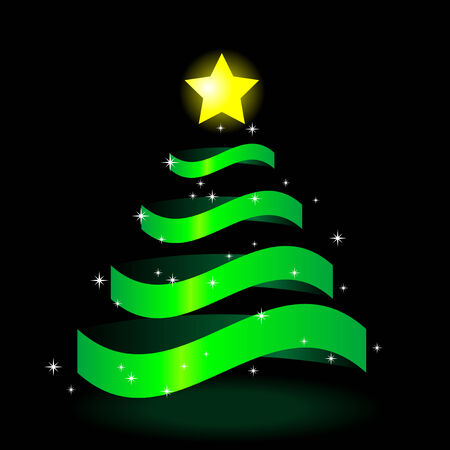 christmastree: Abstract vector illustration of a christmas tree with a star on top
