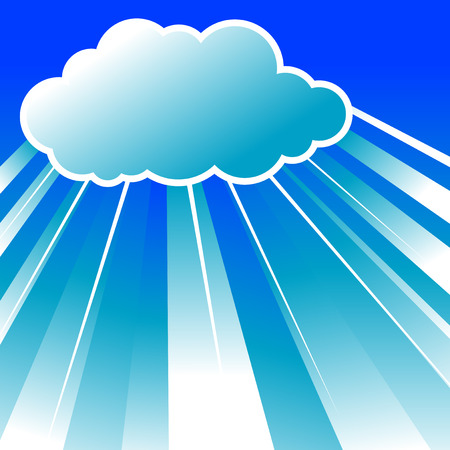 Abstract vector illustration of clouds in the sky with rays coming from behind them