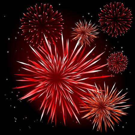 lichteffekte: Abstract vector illustration von Feuerwerksk�rpern in einem schwarzen Himmel