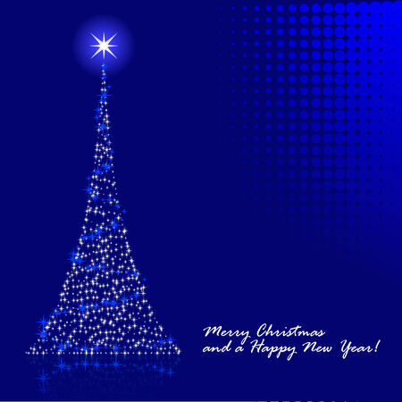 Abstract vector illustration of a christmas tree over a blue background Vector