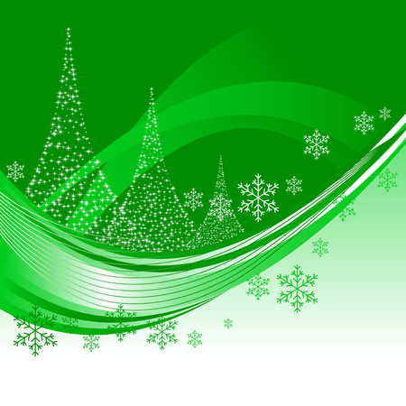 Abstract vector illustration of a christmas background with three christmas trees Illustration